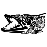 Muskie Head, Graphic Style Esox Fishing Decal