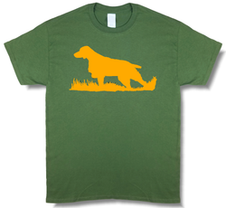 Bird Dog Profile Olive Green w/ Blaze Orange Design, Upland Hunting Short Sleeve T-shirt - Modern Wild