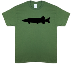 Muskie Silhouette, Olive Green Short Sleeve Fishing T-shirt