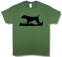 Bird Dog Profile Upland Hunting Olive Green w/ Black Design Short Sleeve T-shirt - Modern Wild