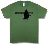 Modern Wild Woodcock Profile, Upland Hunting Olive Green Short Sleeve T-shirt - Modern Wild