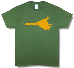Rooster Pheasant Profile Upland Hunting Olive Green Short Sleeve T-shirt - Modern Wild