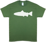 Trout Profile, Fly Fishing, Olive Green Short Sleeve T-shirt - Modern Wild
