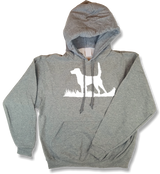 Bird Dog Silhouette Upland Hunting Oxford Gray Hooded Sweatshirt