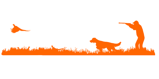 English Setter (low tail) Bird Dog, Rooster Pheasant Upland Hunting Scene Decal