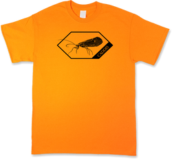 Caddis Dry Fly, Blaze Orange Short Sleeve, Fly Fishing T-Shirt