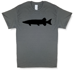 Muskie Silhouette, Charcoal Gray Short Sleeve Fishing T-shirt