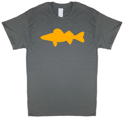 Walleye Profile, Fly Fishing, Charcoal Gray Short Sleeve T-shirt - Modern Wild