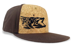 Detailed Muskie Logo, Cork Front Flat Bill Fishing Cap