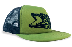 Detailed Muskie Logo, Olive Green Mesh Back Trucker Flat Bill Fishing Cap