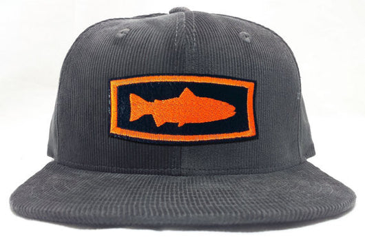 Trout Profile Patch Corduroy Flatbill Cap, Charcoal - Modern Wild