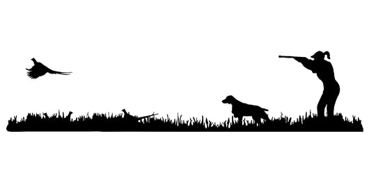 Lady Hunter Brittany Bird Dog, Rooster Pheasant Upland Hunting Scene Decal