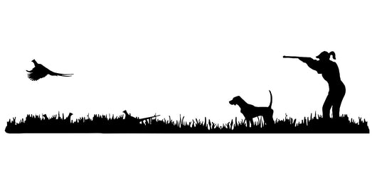 Lady Hunter English Pointer Bird Dog, Rooster Pheasant Upland Hunting Scene Decal