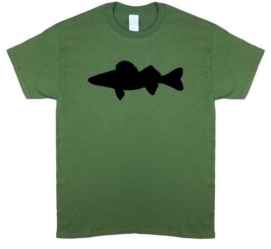 Walleye Profile, Fly Fishing, Olive Green Short Sleeve T-shirt - Modern Wild