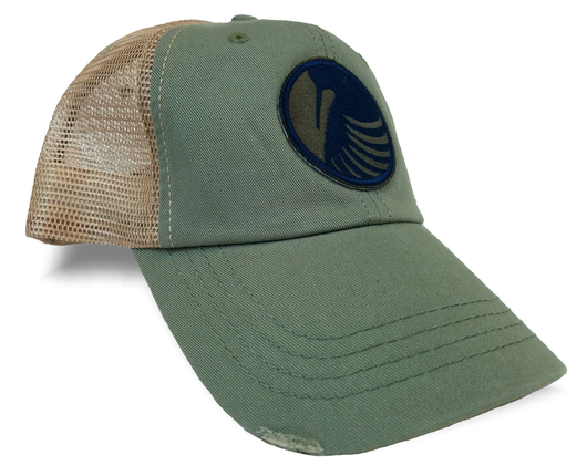 Woodcock Patch, Olive Green Distressed Trucker Upland Hunting Cap - Modern Wild