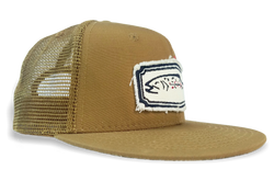 Canvas Brown Trout Patch on Brown Rip-Stop Mesh Back Flatbill Fishing Cap