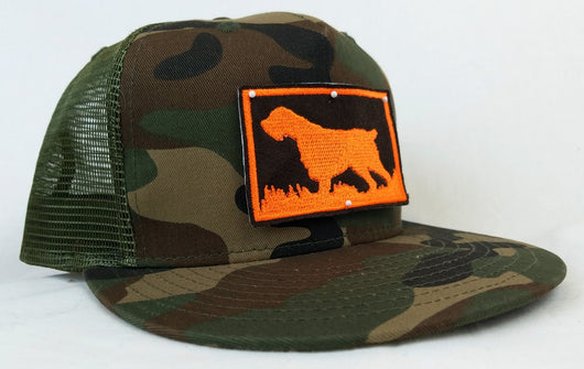 Bird Dog Silhouette, Woodland Camo Flat Bill Trucker Cap