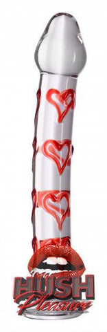 Hearts Of Desire Textured Glass Dildo