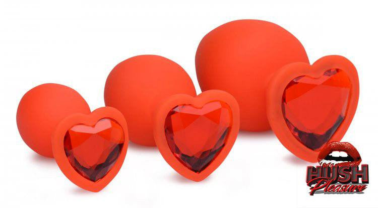 Red Hearts 3 Piece Silicone Anal Plugs w/ Gems