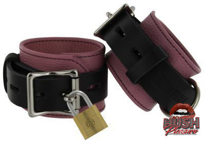 Strict Leather Pink and Black Deluxe Locking Cuffs