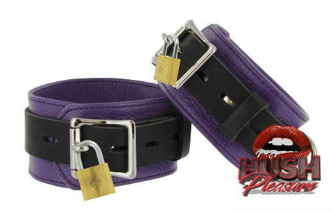 Strict Leather Purple and Black Deluxe Locking Cuffs