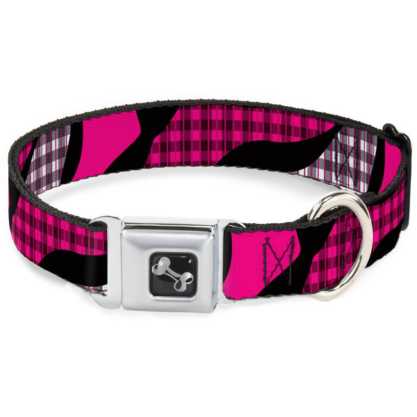 Buffalo Plaid Abstract White, Black & Fuchsia Dog Collar