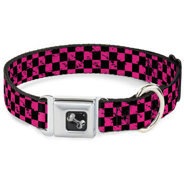 Checker Weathered Black & Neon Pink Dog Collar