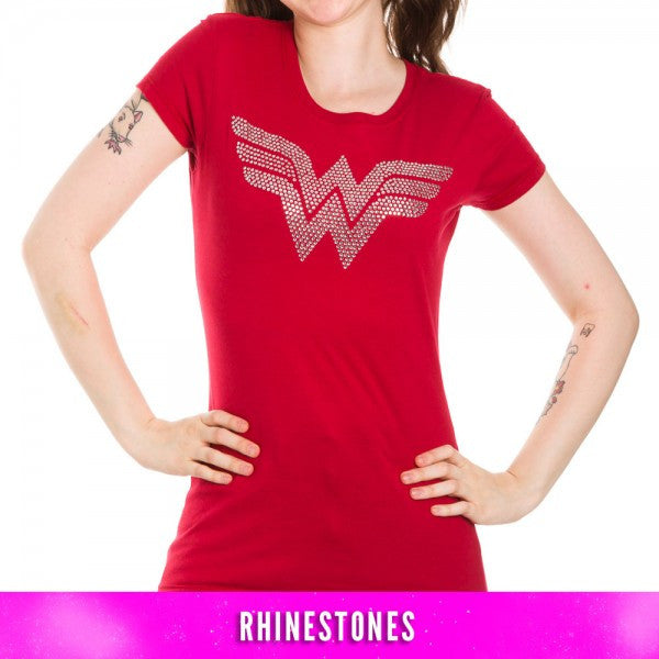 Wonder Woman Silver Rhinestone Logo Red T-Shirt