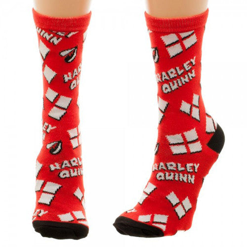 Harley Quinn Heart Logo Tossed Print Jrs Crew Socks *New*