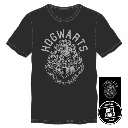 Harry Potter Hogwarts Crest Men's Vintage Black T-Shirt