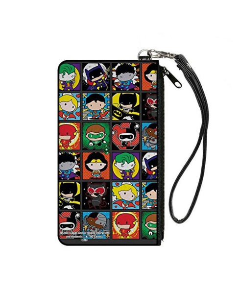 Justice League Comics 12-Chibi Character Pose Blocks Small Canvas Zipper Wallet