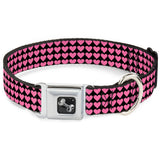 Mini Hearts Black & Pink Dog Collar