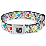 Puppies with Paw Prints Multi Color Dog Collar