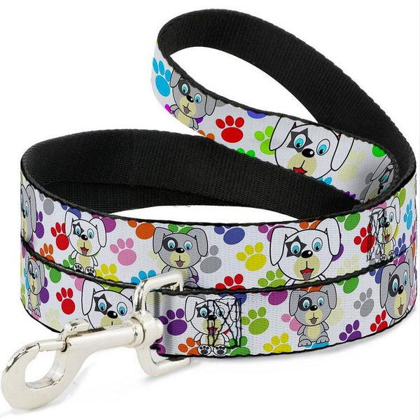 Puppies with Paw Prints Multi Color Dog Leash