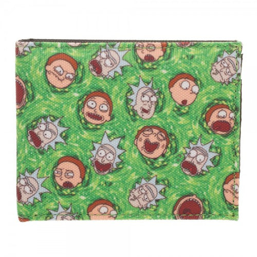 Rick and Morty All Over Print Sublimated Green Bi-Fold Wallet