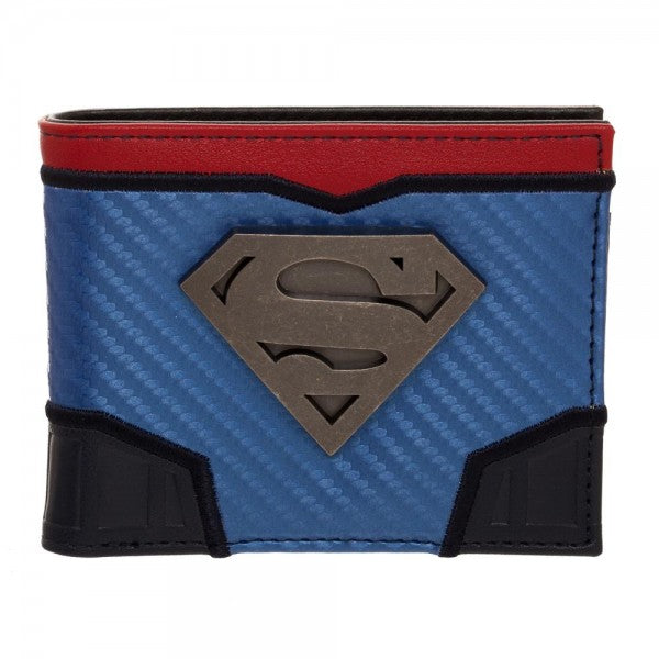 Superman Domed Metal Badge Carbon Fiber Bi-Fold Wallet