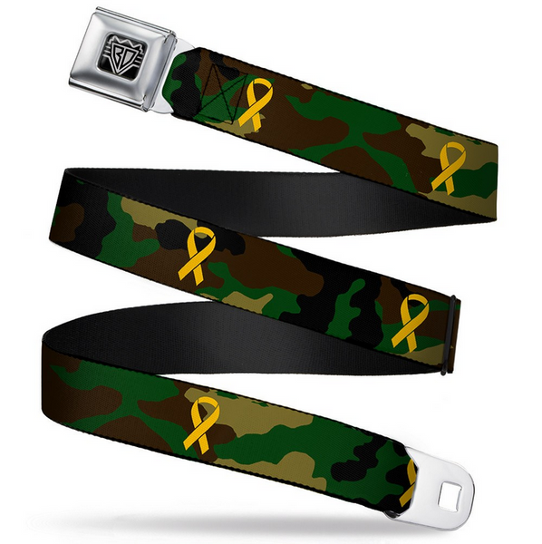 Support Our Troops Camo Olive/Yellow Ribbon Seatbelt Belt