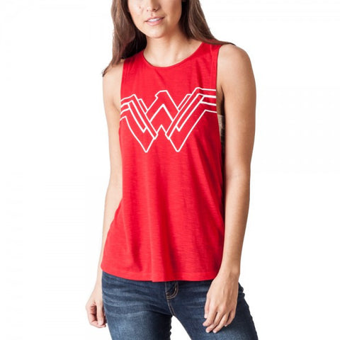 DC Comics Wonder Woman Blue Logo V-Neck T-shirt