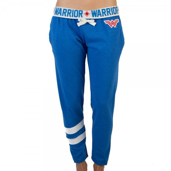 Wonder Woman Women's Blue Warrior Logo Jogger Pants