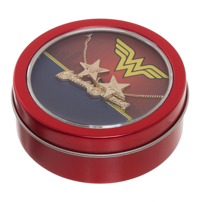 Wonder Woman Necklace & Earring Gift Tin