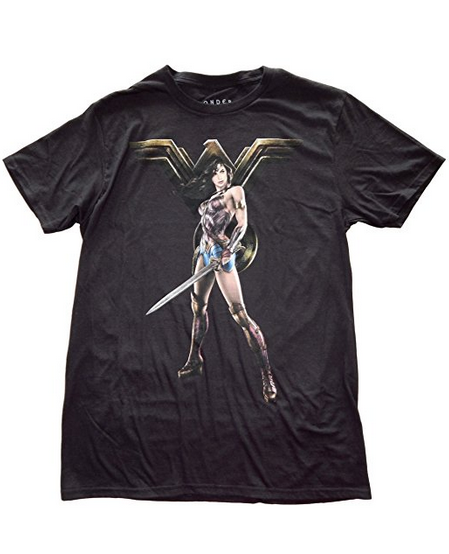 Wonder Woman Warriror Pose Mens Black T-Shirt