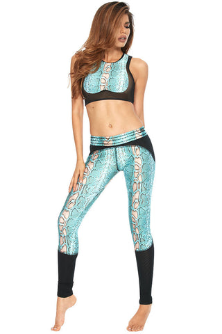 WRIST CANDY TURQUOISE SNAKE LEGGINGS