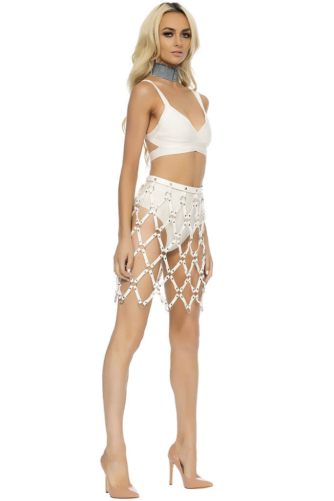 Devin Skirt Harness - White