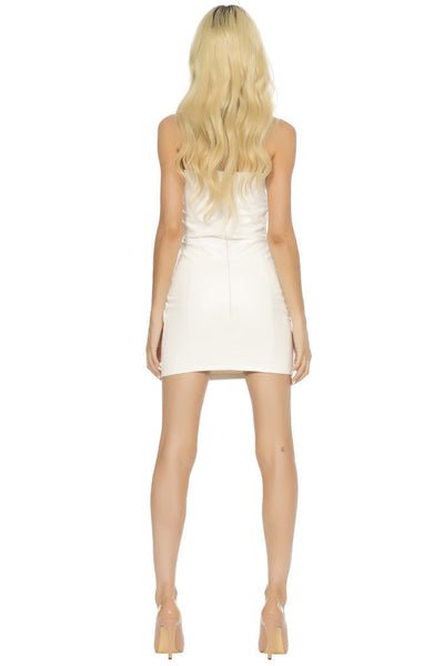 Ace Vegan Leather Mini Dress - White
