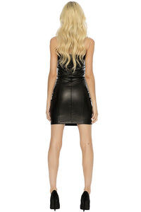 Ace Vegan Leather Mini Dress - Black