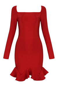 Christina Ruffles Bandage Dress- Red