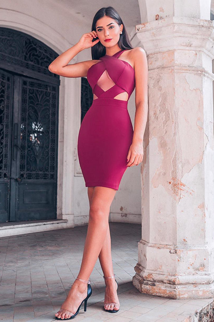 Stella Bandage Dress -Wine Red