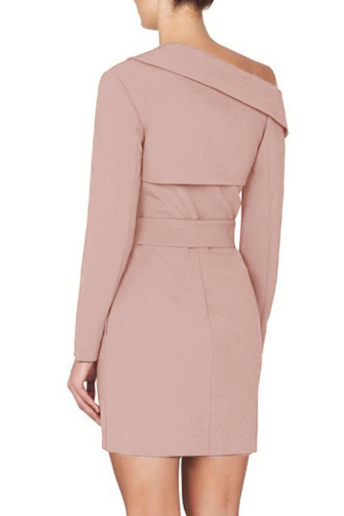 Jennifer Asymmetrical Dress With Belt -Nude