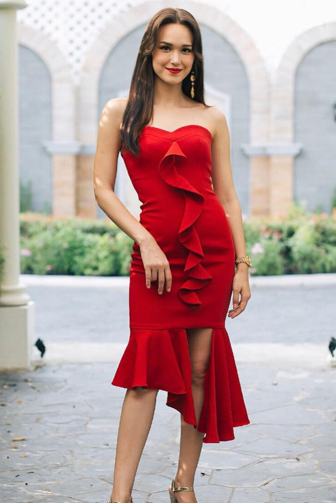 Ellen Bandage Dress-Red