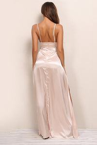 Le S** Satin Dress - Nude